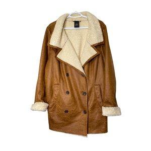 Love & Legend Sherpa Shearling Look Jacket Tan 2X